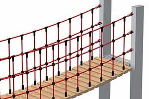 Net handrail for wooden or rubber steps