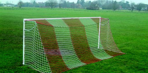 red and white vertical striped goal net