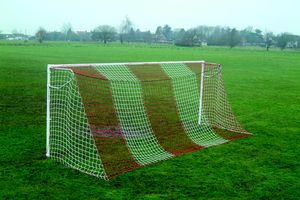 steel football goals with red and white striped football nets
