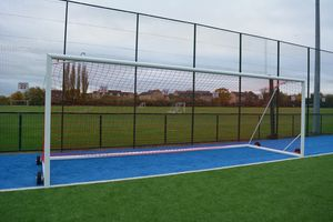 senior football goal with net and wheels