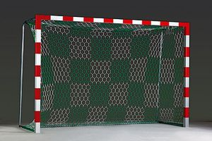 handball goal net in chquered pattern