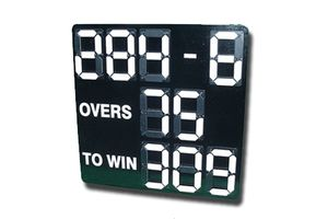 black cricket scoreboard with white digital numbers